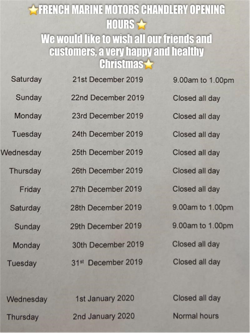 French Marine Motors Opening Hours Christmas 2019