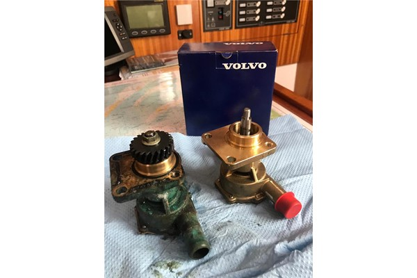 Replaced Water Pump On A Volvo Penta MD2020 Housed In A