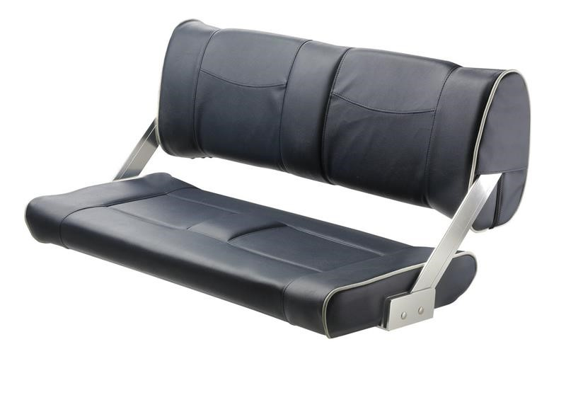 Vetus Ferry Bench Seat With Adjustable Backrest, Dark Blue With White Seams, DCHTBSB