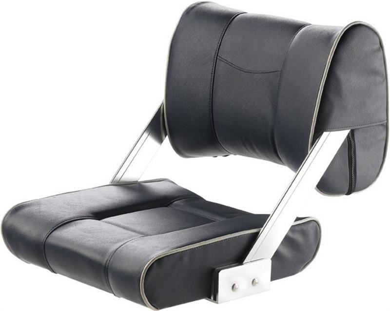 Vetus Ferry Helm Seat With Adjustable Back Rest, Dark Blue With White Seams, CHTBSB